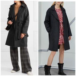 APC Bakerstreet Grey Wool Wrap Coat Jacket